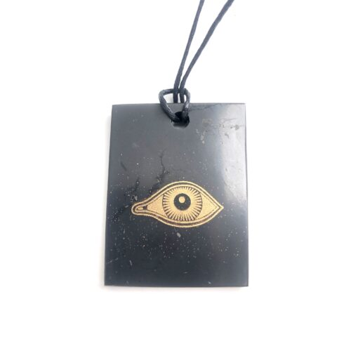 Schungit Anhänger Rechteck- Eye of Horus