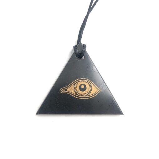 Schungit Anhänger Dreieck Eye of Horus